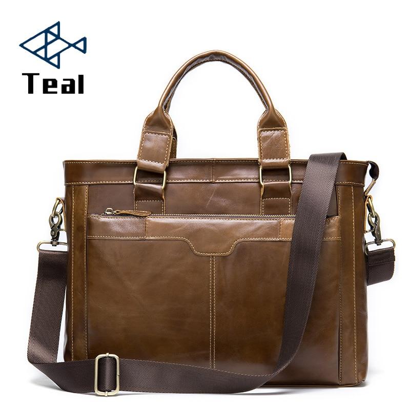 Men's Briefcase Handbags Genuine Leather Men Retro Business Casual Briefcase Coffee Color Tide Briefcase Large Capacity