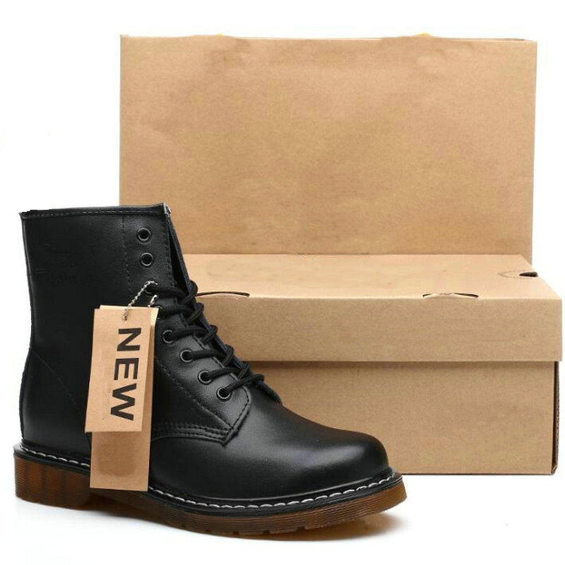 Dr Matianjin Women Martens Boots Genuine Leather Women Ankle Boots Punk Doc Motorcycle Women Shoes Thick Heel Winter Shoes