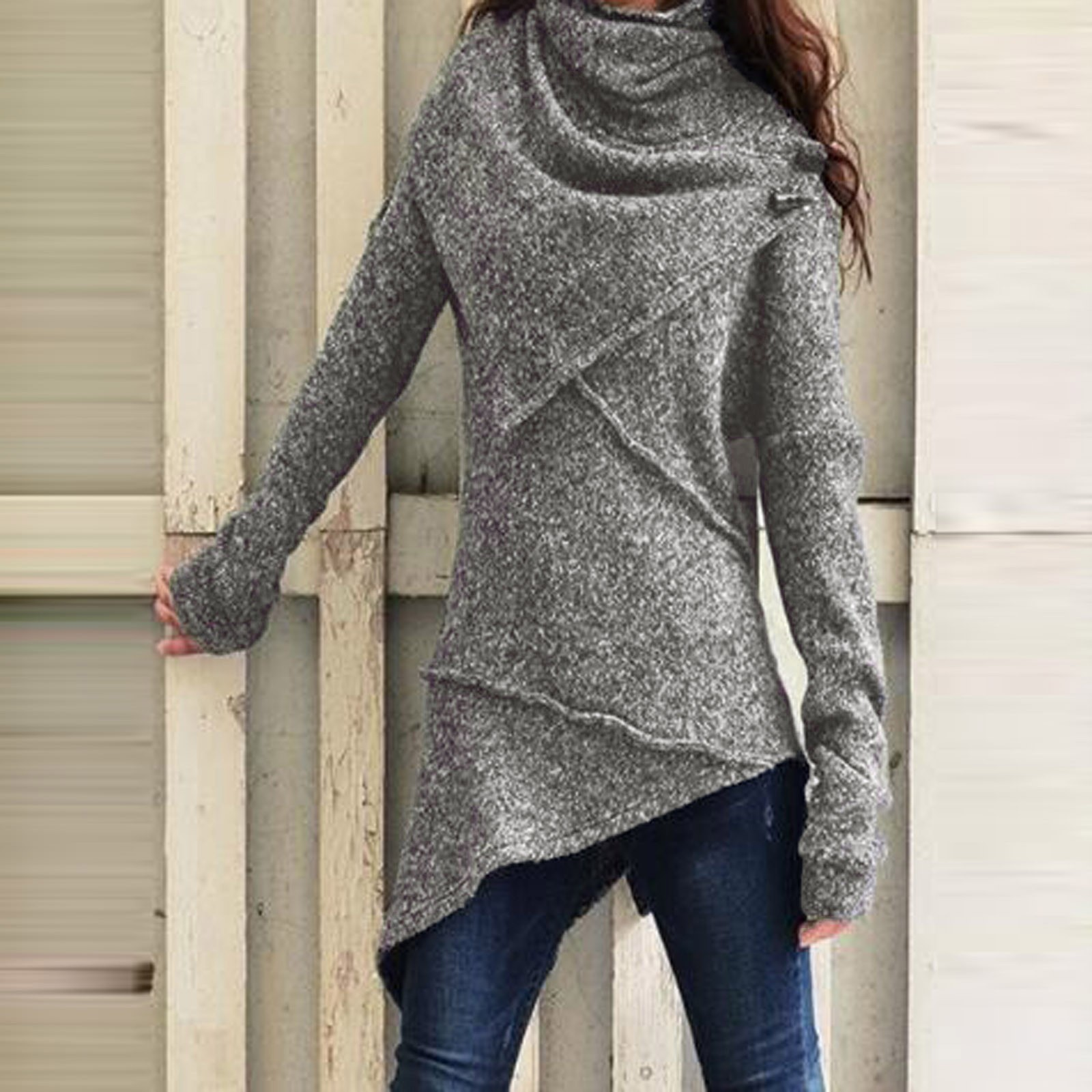 40#Womens High Collar Pure Color Blouses Fashion Long Sleeve Casual Elegant Pullover Tops Shirts Winter Women Clothing blusas 9