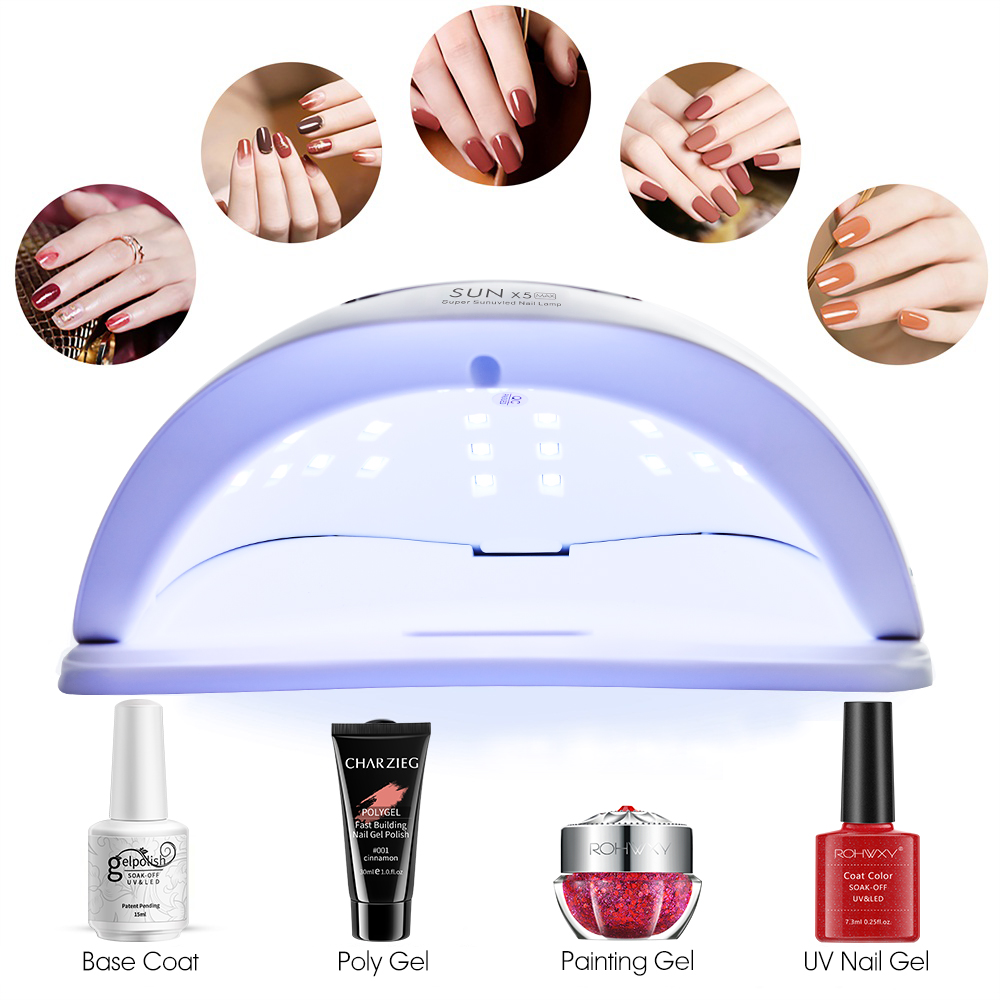 ROHWXY Sun X5 MAX Nail Gel Lamp 80W Nail Dryer For All Gel Varnish UV LED Ice Lamp With LCD Display For Nail DIY Manicure Tools 5