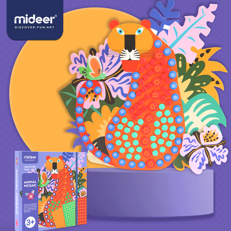 MiDeer Baby Diy Toys Point Art 3D Manual 3Y+ Patient EVA Creative Classic Animals Decoration Colorful  Girls Sticker Toys