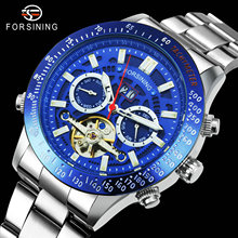FORSINING Automatic Mechanical Tourbillon Watch Men Unique Blue Dial Auto Date Week Display Luxury Casual Mens Skeleton Watches forsining fashion creative automatic mechanical watch men skeleton tonneau dial leather strap unique casual watches dropshipping