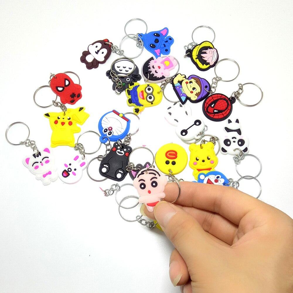 50 PCS/100 PCS/200 PCS/500 PCS Mix Anel Chave Chaveiro Crianças Anime Dos Desenhos Animados do PVC figura Chave Keychain Titular Pingente de Brinquedo do Miúdo