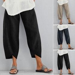 Women Casual Harem Pants Solid Color Cotton Linen Wide Leg Trousers Summer Elastic Waist Plus Size Loose Comfortable Trousers