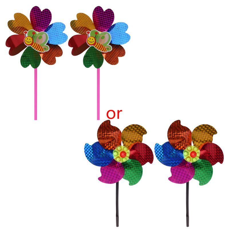 2 Pcs/Set Wind Spinner Sequin Windmill Pinwheel Colorful Kids Toys Children Glitter Glow Garden Home Decoration Games Funny
