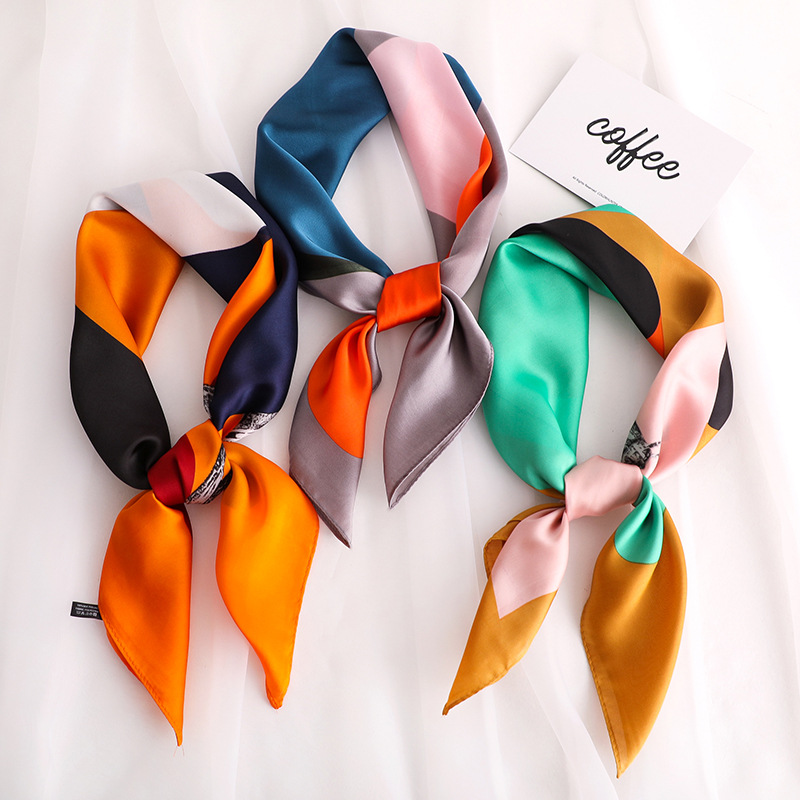 Small Shawls Silk Satin Hair Scarf For Women Fashion Animal Print Kerchief Neck Scarves Female 70cm*70cm Square Headband Scarfs