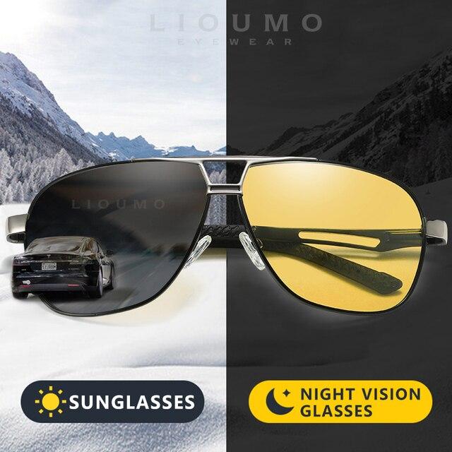 Gafas de sol de piloto fotocromáticas HD para hombre y mujer, lentes polarizadas de día y noche para conducir, camaleón antideslumbrantes