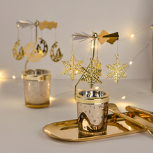 creative nordic christmas deer the merry go round dandelion moon lamp milky way a night light The Nordic Romantic Spin Merry-Go-round Is Candlestick Candle Light Dinner Props Household Candles Tray Christmas