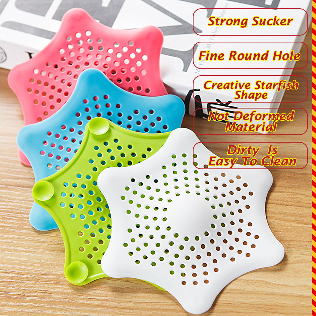 Hot Sink Filter Pentagram Kitchen Anti-Clogging Floor Drain Bathroom Filter Bathtub Drain Cover Drains Strainer