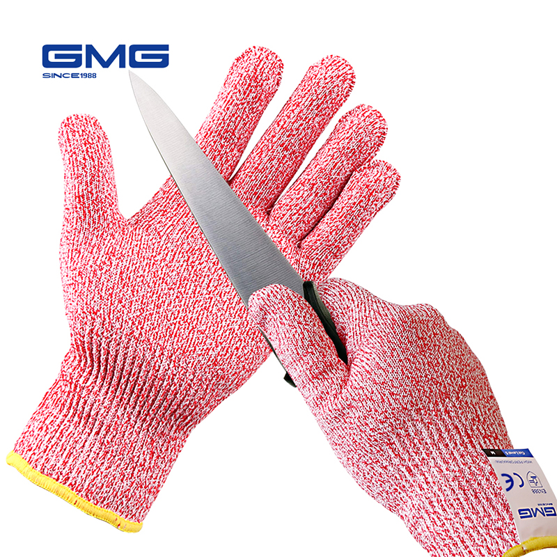 Anti Cut Gloves  GMG Red Food Grade For Kitchen HPPE EN388 Level 5 ANSI Working Protective Gloves Cut Resistant Gloves