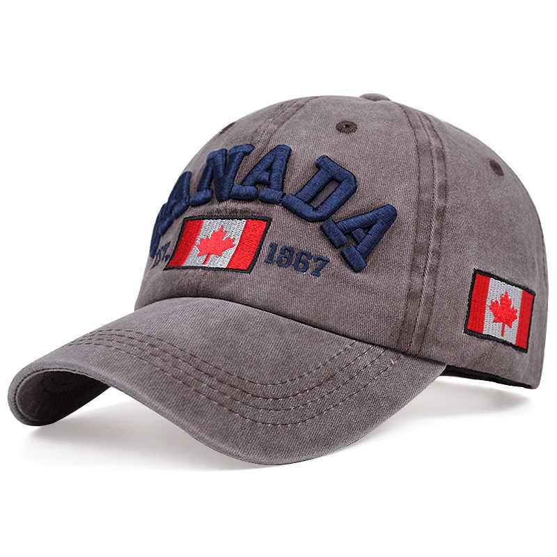 2020 nuovo CANADA tre-dimensionale berretto da baseball del ricamo di modo cotone lavato cappello papà primavera estate cappelli del sole all'aperto Selvaggio cappellini