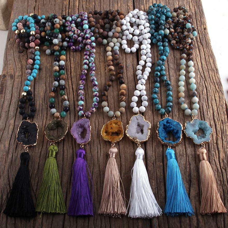 RH Fashion Bohemian Jewelry Stones Knotted Druzy Stone Links Tassel Necklaces For Boho Jewelryes Women Gift Lariat  Necklace
