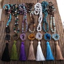 Rh moda boêmio jóias pedras atadas druzy pedra links borla colares para boho jóias mulheres presente lariat colar
