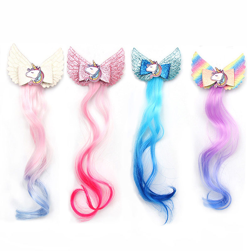 Cute Wings Unicorn Beauty Horns Baby Girls Hair Clips Wig Hairpins Kids Children Barrettes Girls Hair Accessories Baby Bows