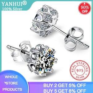 Stud-Earrings Lab Diamond 925-Sterling-Silver Women Wedding-Jewelry Moda with Certificate