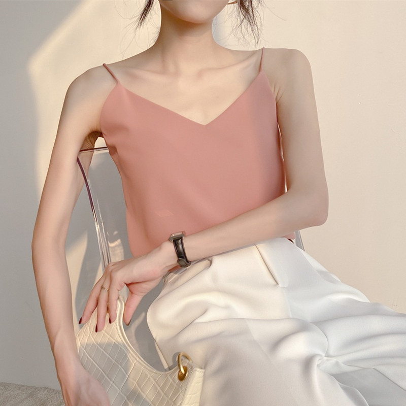 Korean Fashion Chiffon Women Tops Woman Sleeveless Solid Blouse Top Plus Size Summer Sexy Woman V-neck Straps Tops Camisas Mujer