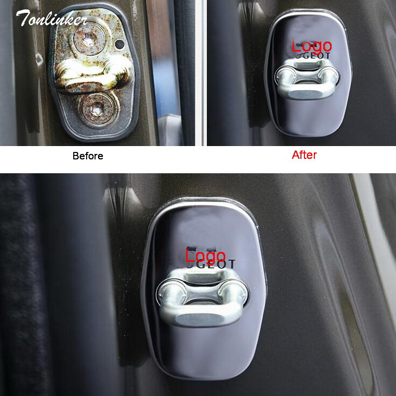 Tonlinker 4Pcs Car Style Stainless Steel Door Lock Protective Stickers For 2009 -14 Citroen/DSPeugeot 3008/2008/308/408/508/301