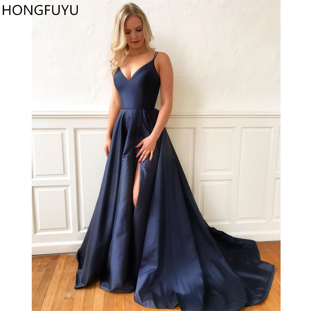HONGFUYU   Prom     Dresses   Long A Line Floor-length Satin Evening Party Gowns robe de soiree Double Straps Formal   Prom     Dress   Slit