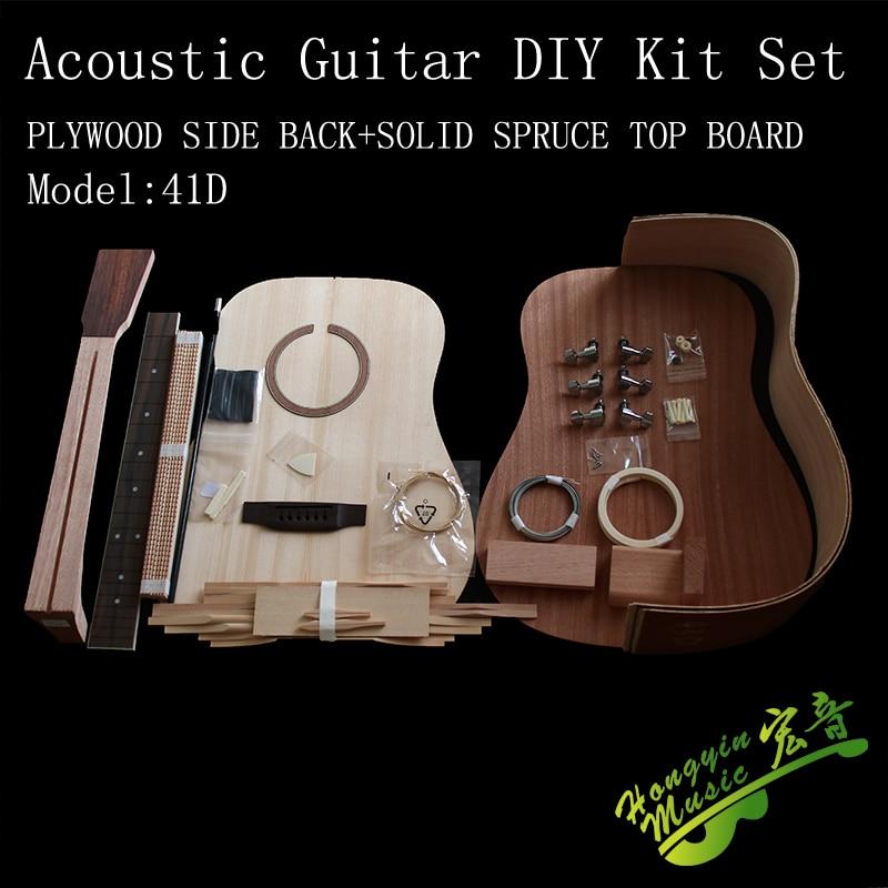41IN D Acoustic Guitar DIY Kit PLYWOOD Back Side+OKOUME Neck+ROSE WOOD Fingerboard+ Spruce Top