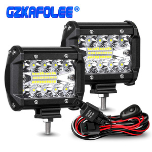 60W 4INCH 20LED Waterproof Work Light LED Light Bars Spot Flood Beam for Work Driving Offroad Boat Car Tractor Truck 12V 24V