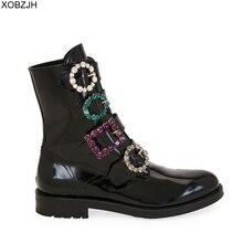 Дизайнерские черные ботинки со стразами; роскошные женские брендовые зимние ботинки из натуральной кожи; коллекция 2019 года; женские ботинки на плоской подошве