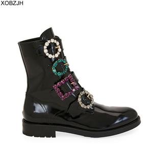 Image 1 - Дизайнерские черные ботинки со стразами; роскошные женские брендовые зимние ботинки из натуральной кожи; коллекция 2019 года; женские ботинки на плоской подошве