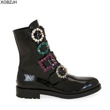 Nhà thiết kế đen Kim Cương Giả Giày Boot Nữ cao cấp 2019 Thương hiệu Chính Hãng Giày Da Cho Mùa Đông Giày Boots Nữ phẳng Giày