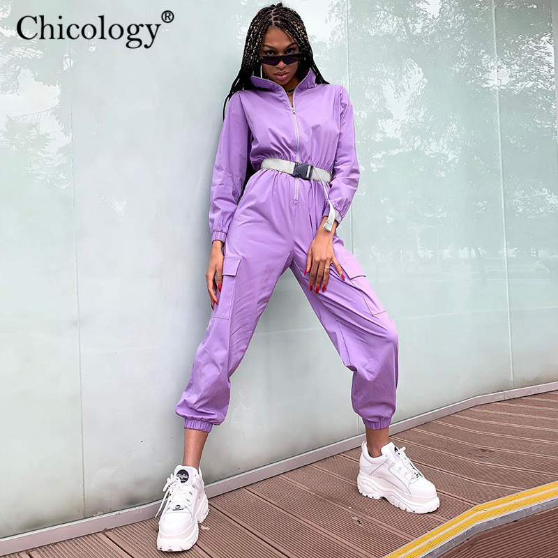 Chicology buckle belt pocket neon overalls streetwear zipper women long pant trousers   jumpsuit   women 2019 autumn winter clothes