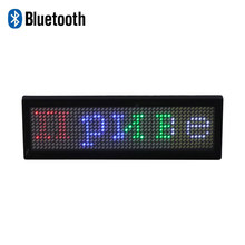 Bluetooth APP control portable multicolor mini LED display rechargeable full color LED name badge wearable RGB LED name sign(China)