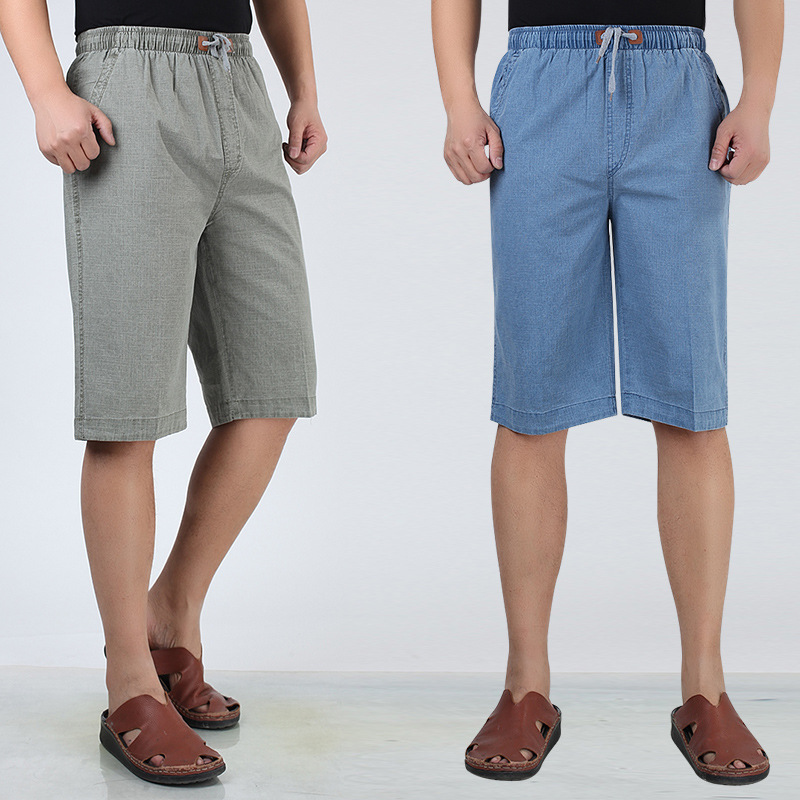 Plus-sized Linen Shorts Men's Middle-aged Elastic Waist Five Capri Pants Loose-Fit Mian Ma Da Trunks Large Size