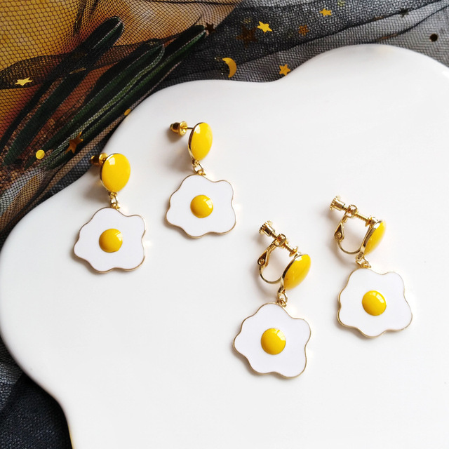 Cute Poached Egg Clip on Earrings Beautiful Funny Daily Non Pierced Earrings.jpg 640x640 - Cute Poached Egg Clip on Earrings Beautiful Funny Daily Non Pierced Earrings
