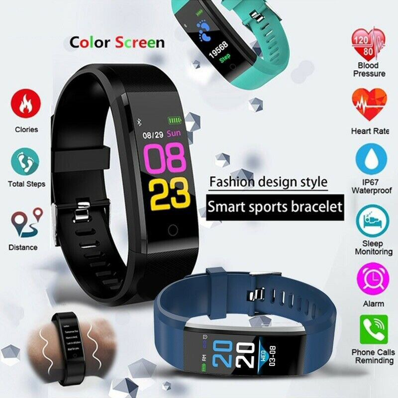 ID115 Digital Sports Watch Men's And Women's Pedometer Fitness Tracking Heart Rate Monitor With Message Reminder For Android IOS