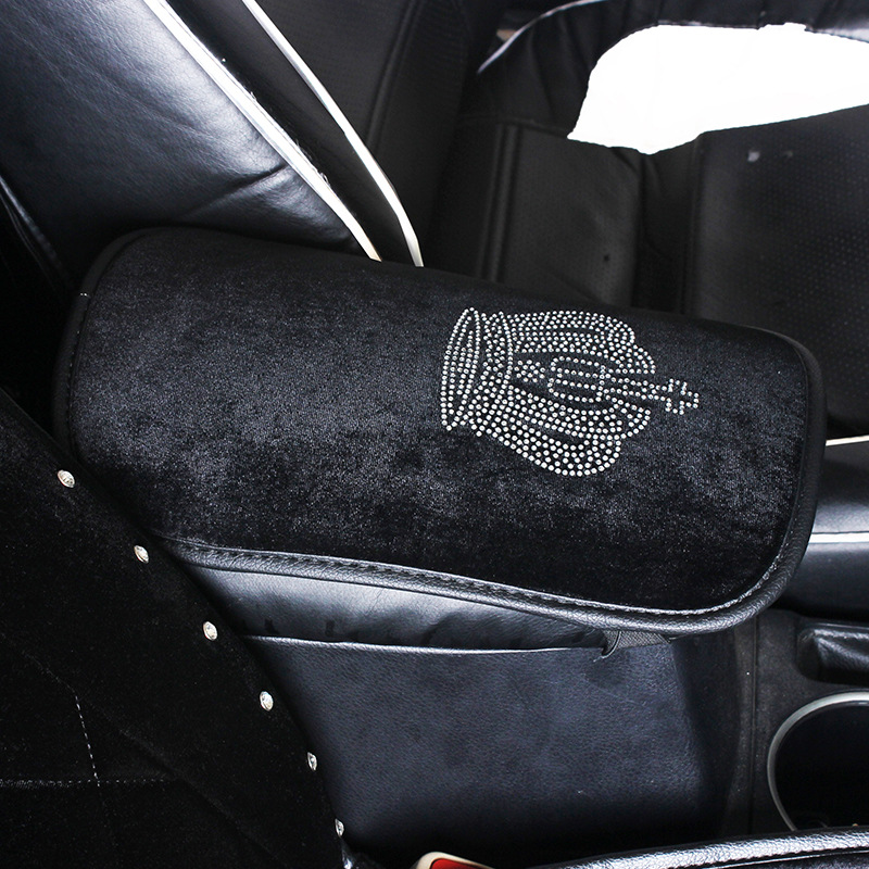 Automobile Armrest Box Cover Pad Hot Drilling Crown Car Mounted Armrest Case Universal Diamond Set Armrest Box Plush Cushion Fou