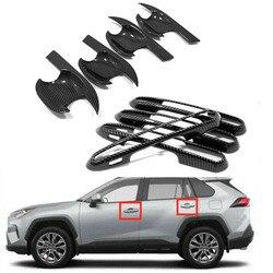 Samochód włókna węglowego look drzwi boczne drzwi osłona klamki + kubek miska wykończenia dla Toyota RAV4 2019 2020 akcesoriów zewnętrznych w Chromowane wykończenia od Samochody i motocykle na