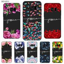 Popular Flower Custom Your Name DIY Black Soft TPU Silicon Case Cover For Samsung Galaxy S5 S6 S7 S8 S9 S10 S10E Lite Edge Plus