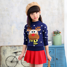 Cartoon Animal Girls Sweaters 2019 New O Neck Child Kid Autumn Pullover Sweater for Girl Clothing Warm Cardigan