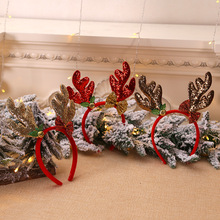 Новогодние рождественские украшения уши с колокольчиками ободок с пряжкой на голову детское праздничное платье реквизит оленьи рога