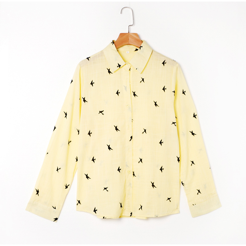 H413596248e98423ca45c69a2280cca53G - Women's Birds Print Shirts 35% Cotton Long Sleeve Female Tops Spring Summer Loose Casual Office Ladies Shirt Plus Size 5XL