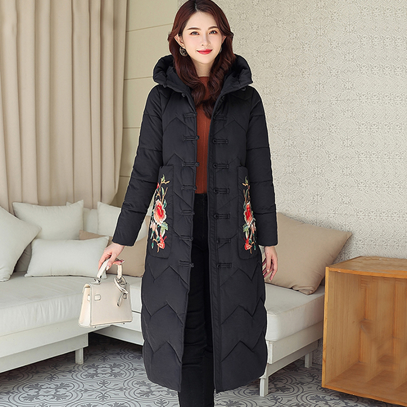 Solid Embroidery Plus Size Cotton Parka Coat Women Winter Long Warm Thicken Hooded Coat Jackets Female Chinese Style Loose Coats