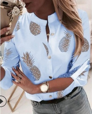 DIHOPE Women's Shirt Ananas White Long Sleeve Women's Blouse  2020 Womens Tops And Blouse Top Female Autumn New Plus Size 5xl 2
