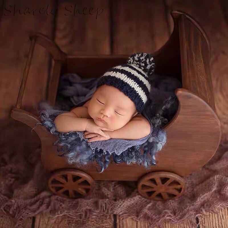 Nouveau-né photographie accessoires bois chariot voiture bébé Phtoshoot Studio posant panier nouveau-né Photo Prop bébé fotoshoot accessoires
