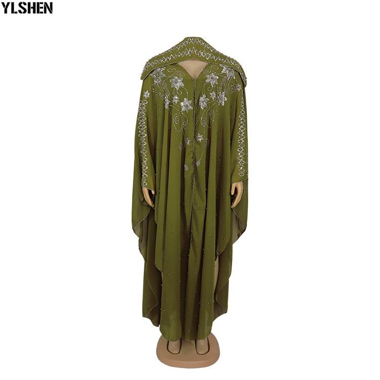 Length 150cm Africa Dress African Dresses for Women Dashiki Diamond Beaded Traditional Boubou African Clothes Abaya Muslim Dress 11