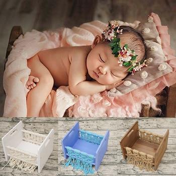 Sofá estudio recién nacido cama madera pequeño bebé tejido cuerda fotografía Prop posar Decoración Retro hogar Fondo cuna