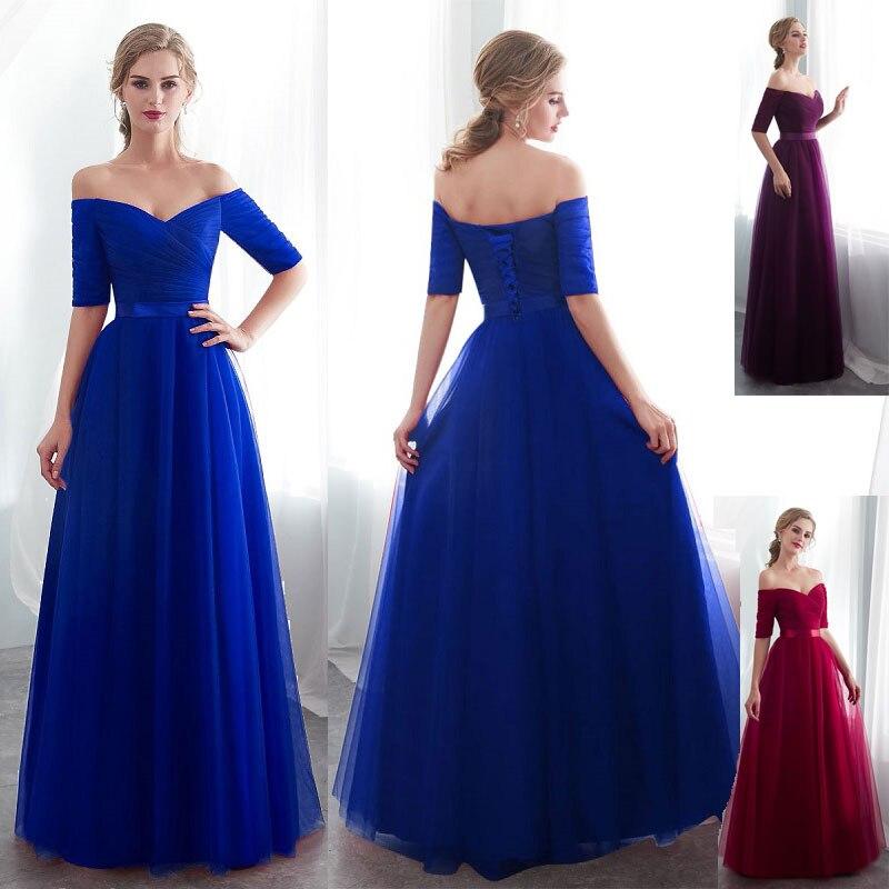 Longue violet rouge gris pas cher robes De soirée 2020 a-ligne hors de l'épaule demi manches Vestido De Noite sur mesure robe de soirée