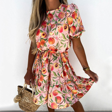 Women Sexy O Neck Ruffle Party Dress With Floral Pattern Spring Elastic Waist Pink Mini Dress A-Line Summer Short Sleeve Dresse