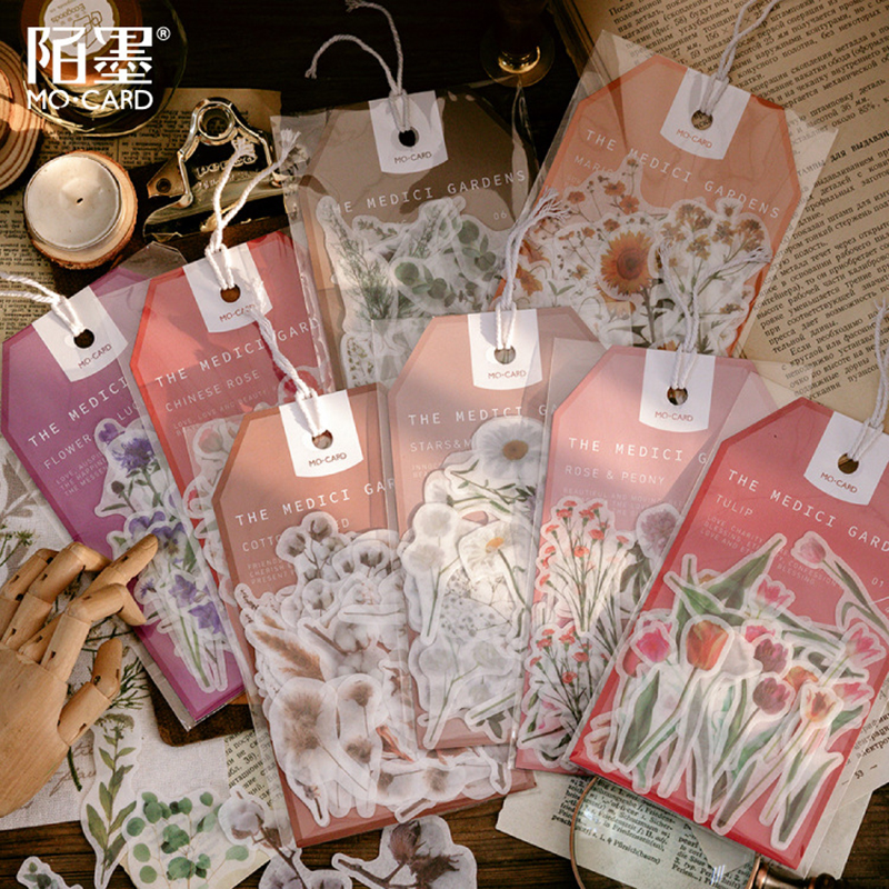 45pcs/bag Stationery Stickers Plant Flowers Sticky Paper Kawaii  Diary Bullet Journal Sticker For Decoration Diary Scrapbooking