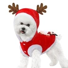 Новинка года, красные рождественские жакеты для собак оленьи рога, теплая зимняя одежда для собак, одежда для домашних животных, одежда для милых собак, праздничная атмосфера