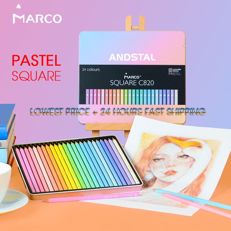 Marco 12/24 Colors SQUARE BODY Trendy Pastel Color Pencils Andstal Oil Color Pencil Professional Colored Pencils For School