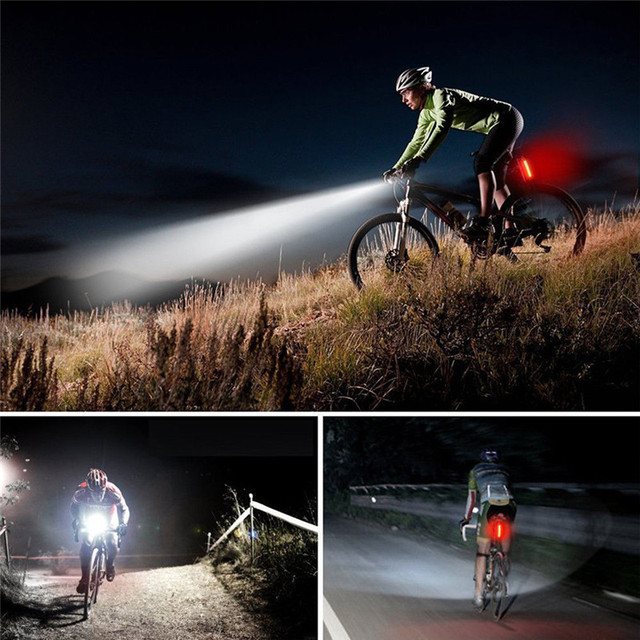 2Pcs Rechargeable Bicycle Light  Cycling Head Front Rear Lights MTB Tail Lamp USB Bike Tail Light Cycling LED Flashlight