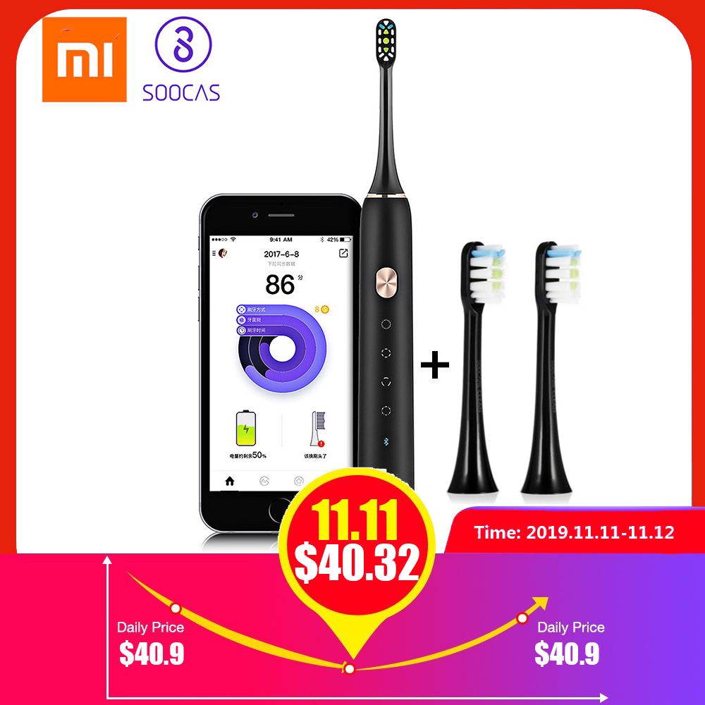 Xiaomi Soocare X3 Soocas Waterproof Electric Toothbrush Rechargeable Sonic Electrric Toothbrush Upgraded Ultrasonic Toothbrush-in Electric Toothbrushes from Home Appliances